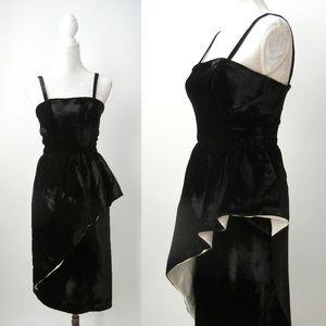 Vintage 1980s Black Velvet Party Dress